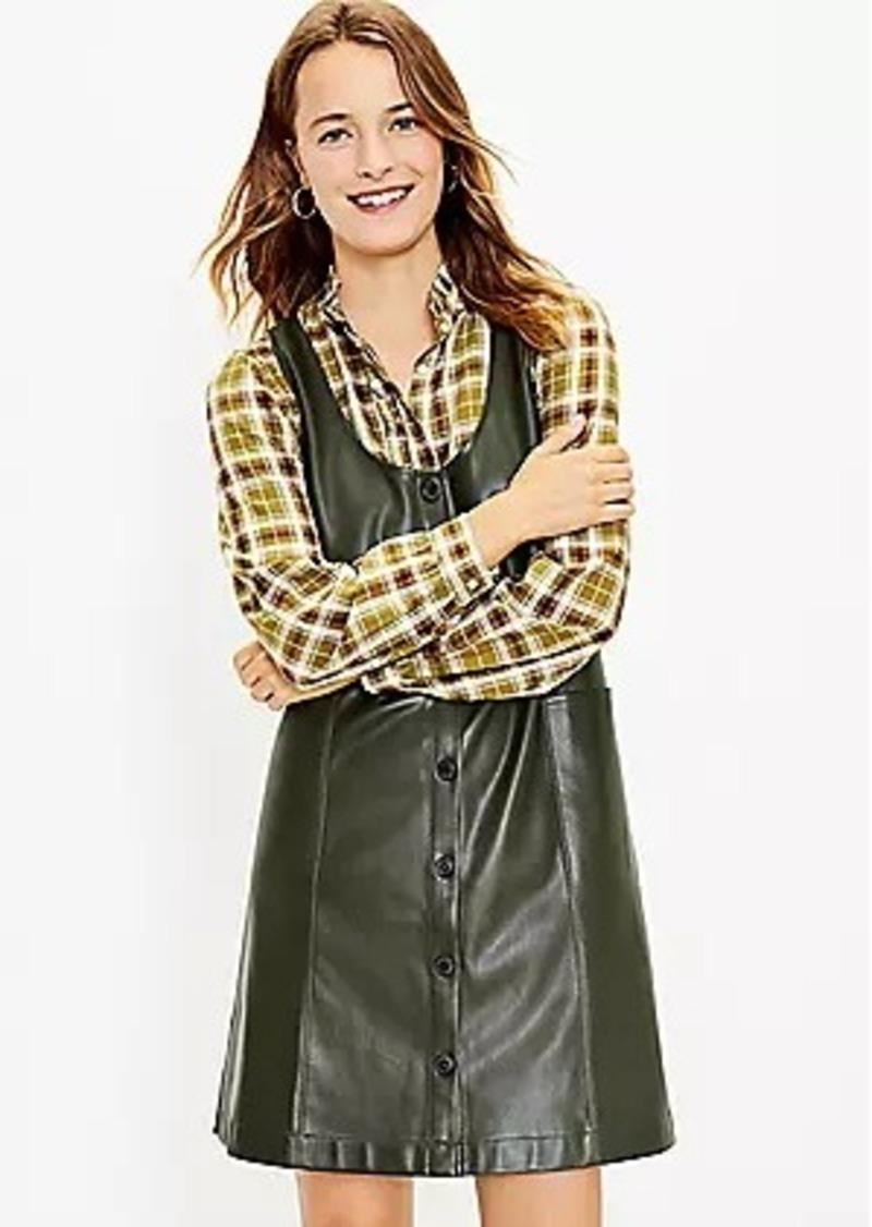 LOFT Faux Leather Button Pocket Dress