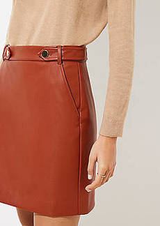 LOFT Faux Leather Button Tab Skirt