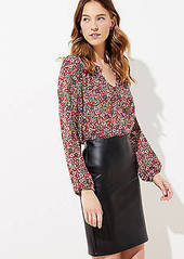 LOFT Faux Leather Pull On Pencil Skirt