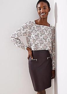 LOFT Faux Leather Zip Pocket Pencil Skirt