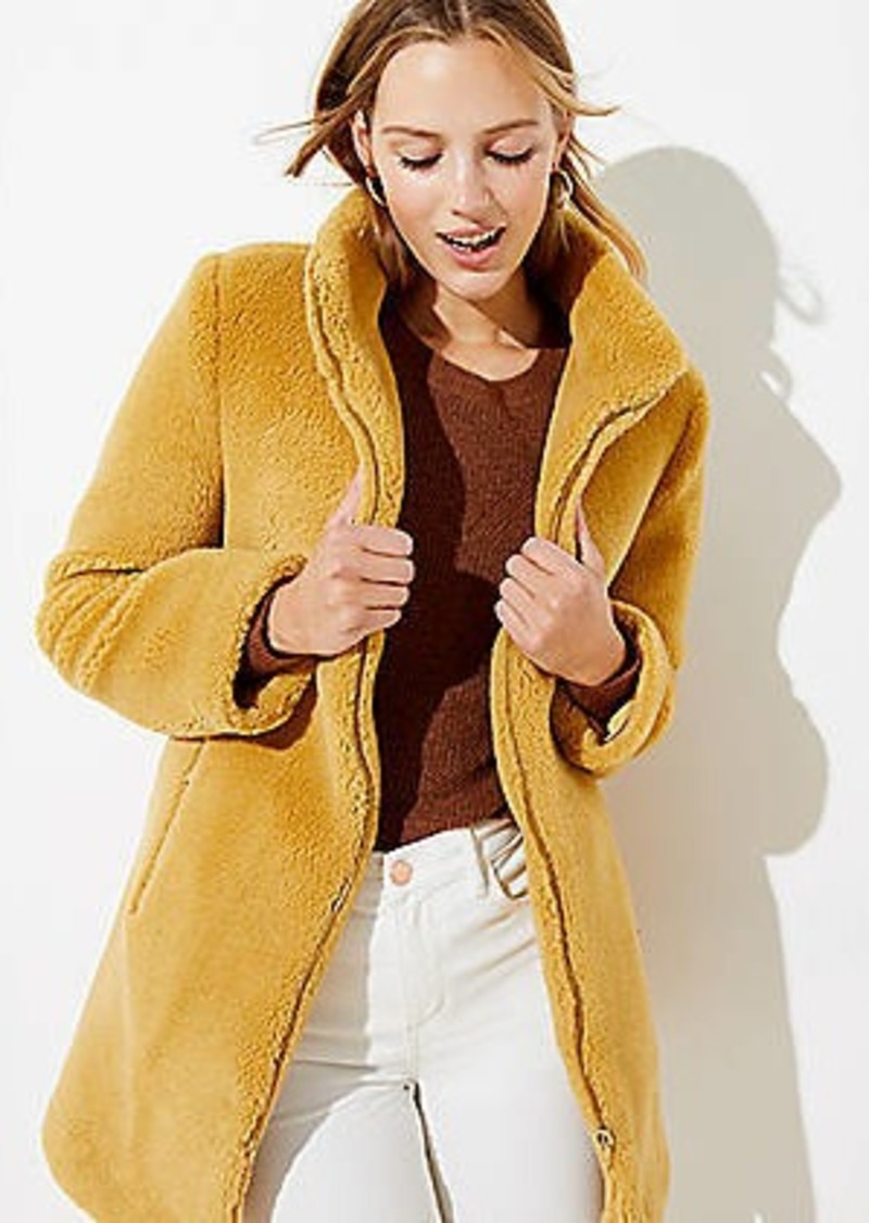LOFT Faux Shearling Funnel Neck Coat