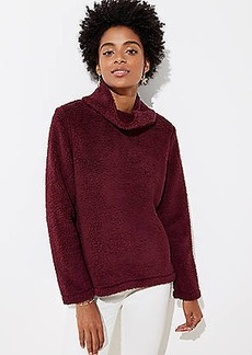 LOFT Faux Sherpa Cowl Neck Top