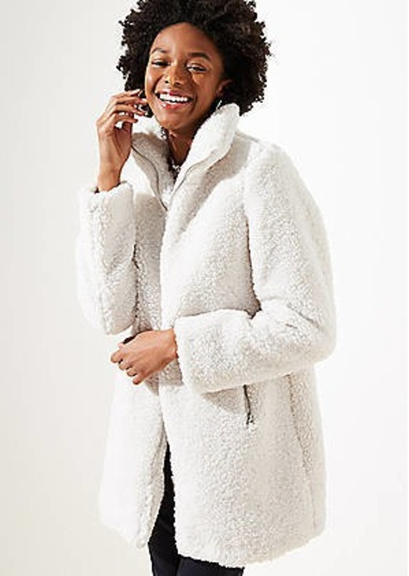 LOFT Faux Sherpa Funnel Neck Coat