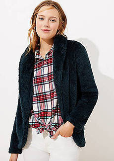 LOFT Faux Sherpa Shawl Collar Jacket