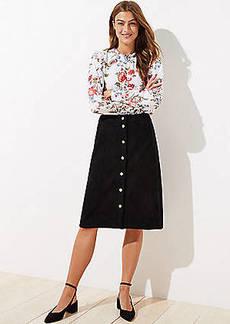 LOFT Faux Suede Button Front Skirt
