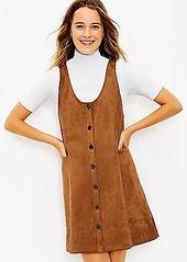 LOFT Faux Suede Button Pocket Dress