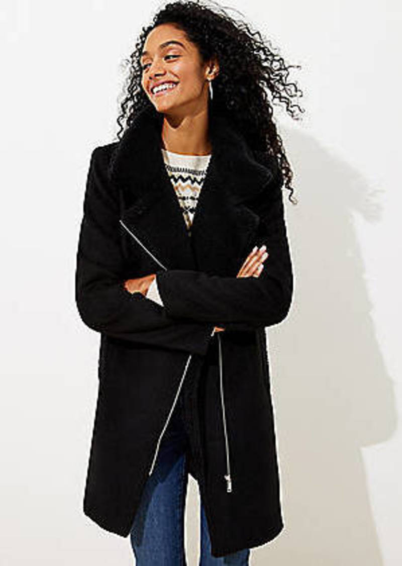 LOFT Fleece Trim Moto Coat