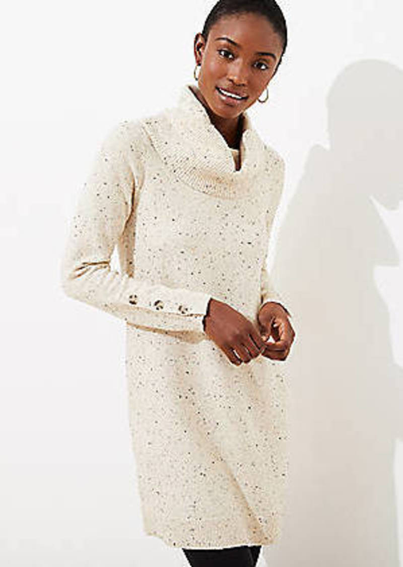 LOFT Flecked Button Cuff Sweater Dress