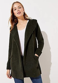 LOFT Flecked Hooded Pocket Open Cardigan