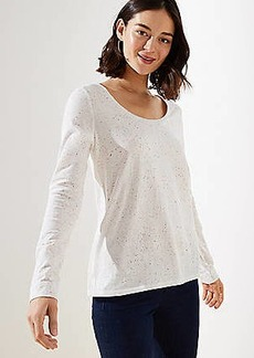 LOFT Flecked Long Sleeve Shirttail Tee