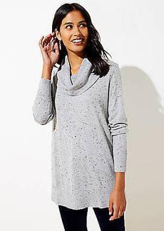 LOFT Flecked Luxe Knit Cowl Neck Tunic Sweater