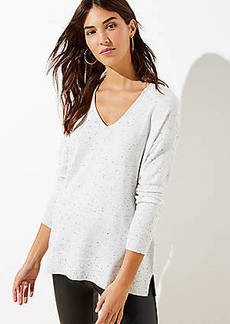 LOFT Flecked Luxe Knit V-Neck Sweater