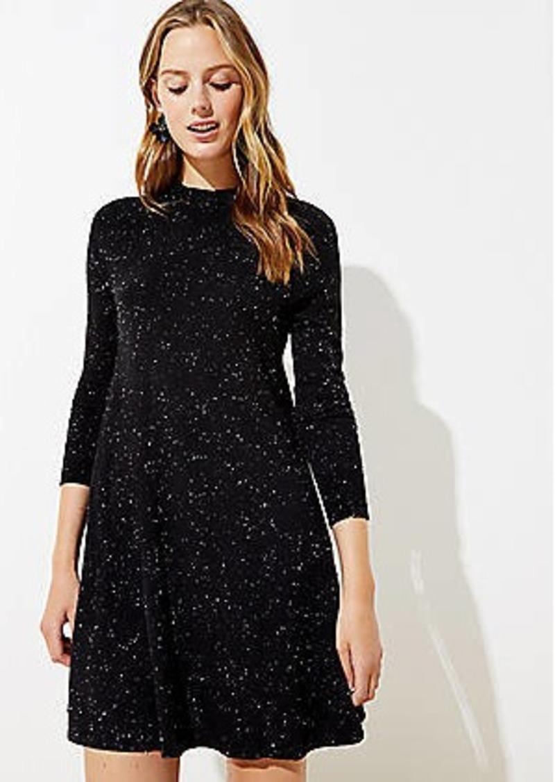 LOFT Flecked Mock Neck Swing Sweater Dress