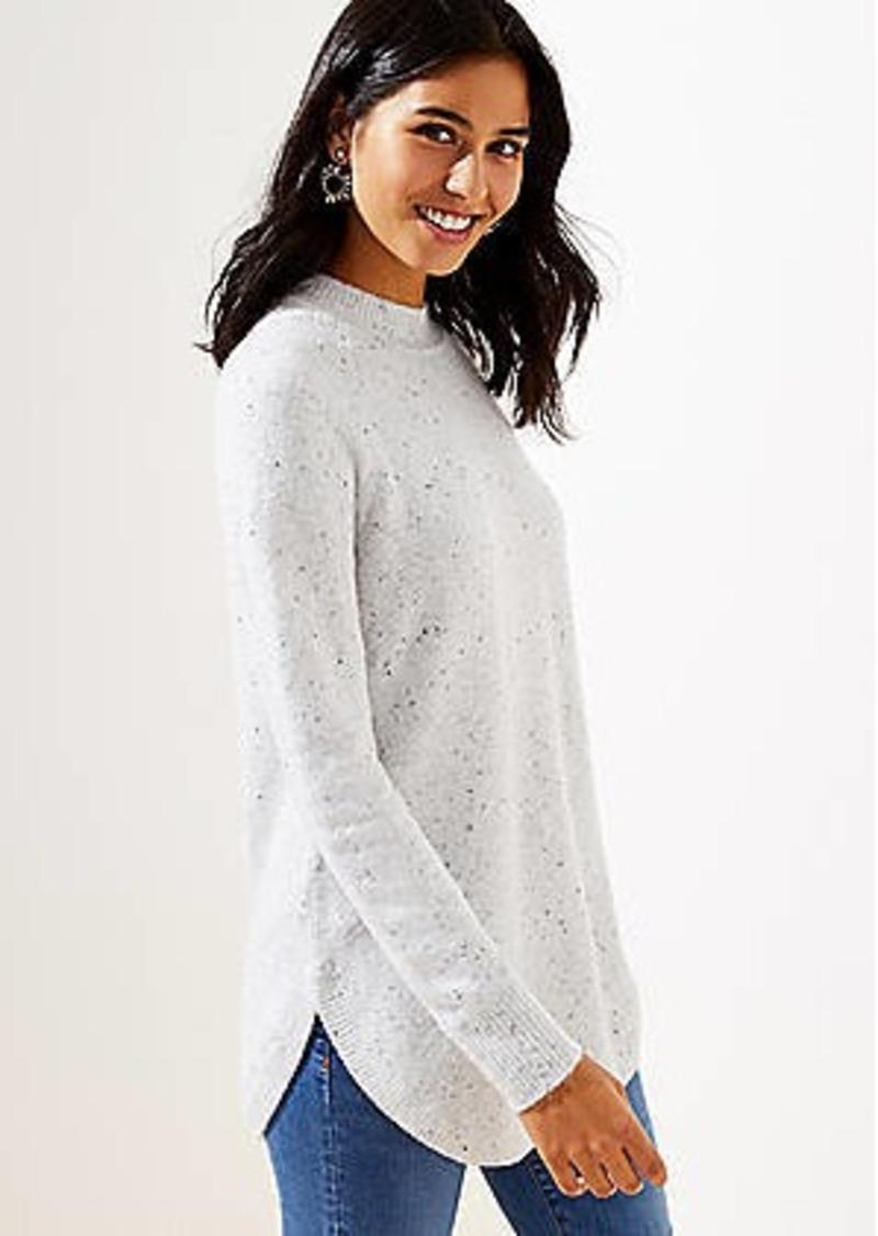 LOFT Flecked Mock Neck Tunic Sweater