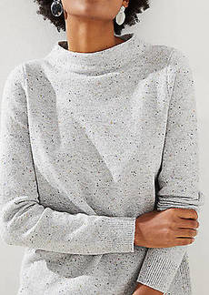 LOFT Flecked Mock Neck Tunic Sweater