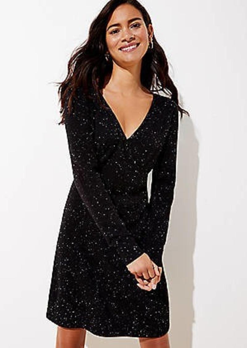 LOFT Flecked Wrap Sweater Dress