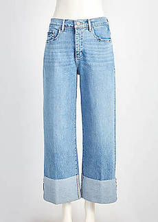 LOFT Flip Cuff High Rise Wide Leg Crop Jeans in Light Indigo Wash