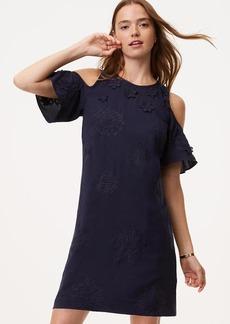 Floral Applique Cold Shoulder Dress