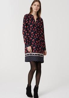 Floral Border Split Neck Shirtdress