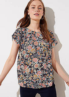 LOFT Floral Button Back Top