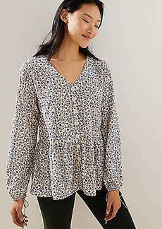 LOFT Floral Button Down Peplum Blouse