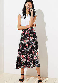 LOFT Floral Button Front Midi Skirt