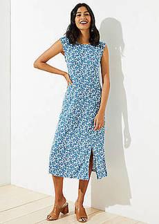 LOFT Floral Cap Sleeve Midi Dress