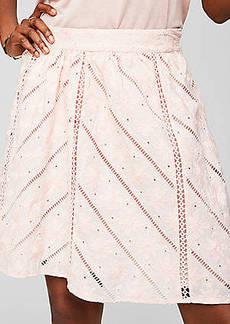 LOFT Floral Chevron Cutout Skirt