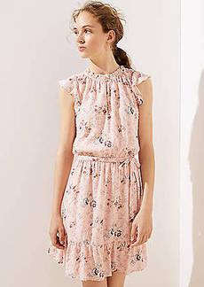 LOFT Floral Clip Dot Flounce Dress