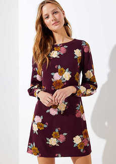 LOFT Floral Cuffed Shift Dress