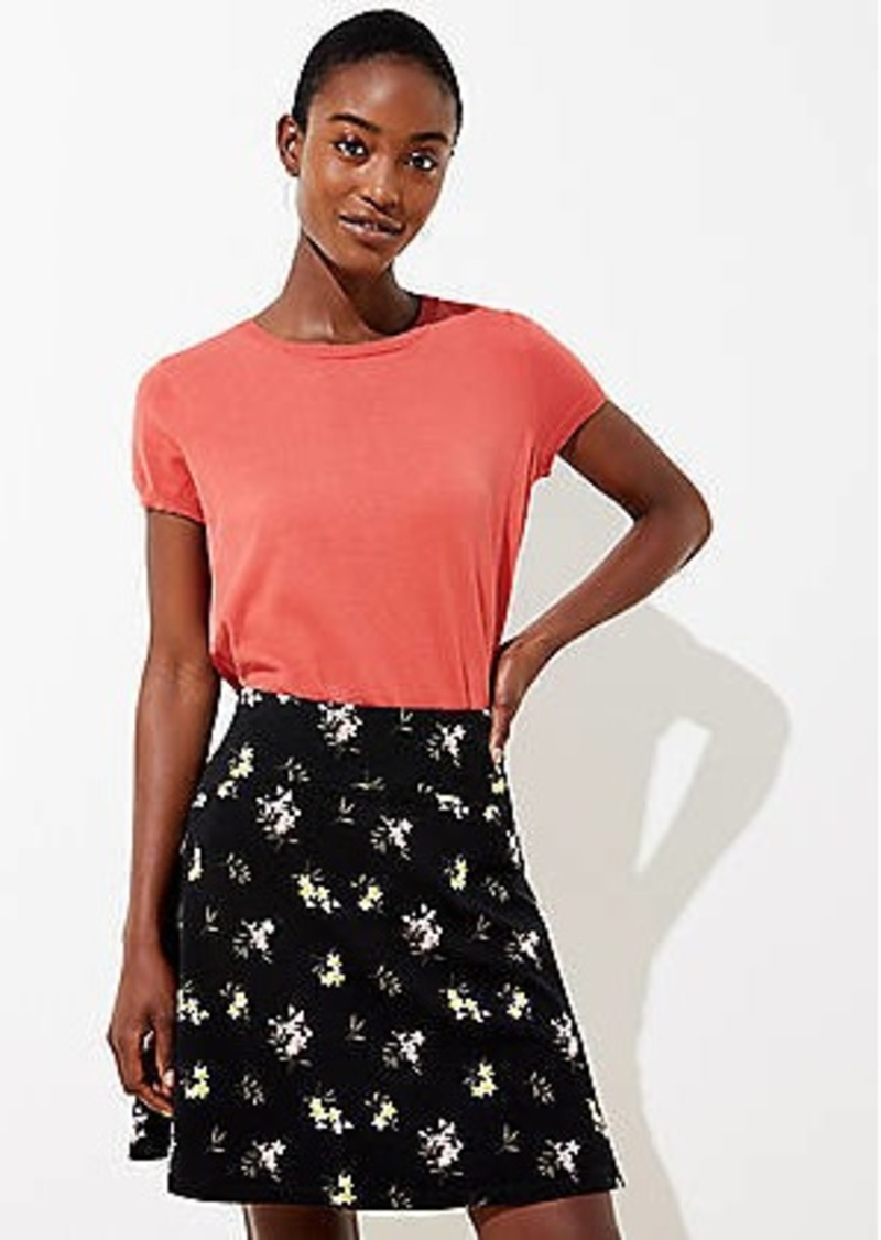 LOFT Floral Curved Yoke Flippy Skirt