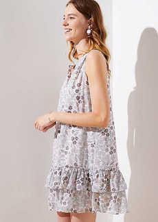 LOFT Floral Doodle Henley Ruffle Dress