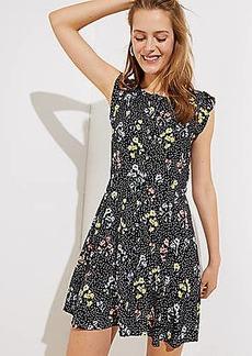 LOFT Floral Dot Button Down Flutter Dress