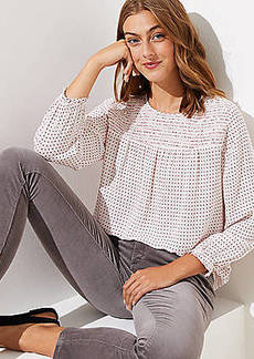 LOFT Floral Dot Smocked Yoke Blouse