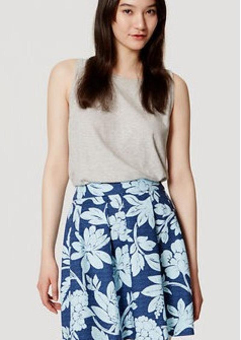 LOFT Floral Doubleweave Pleated Skirt