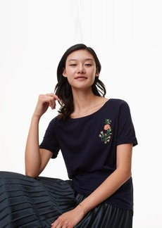 Floral Embroidered Ballet Neck Tee