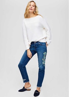 LOFT Floral Embroidered Boyfriend Jeans in Destructed Indigo Wash