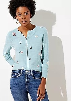 LOFT Floral Embroidered Cardigan
