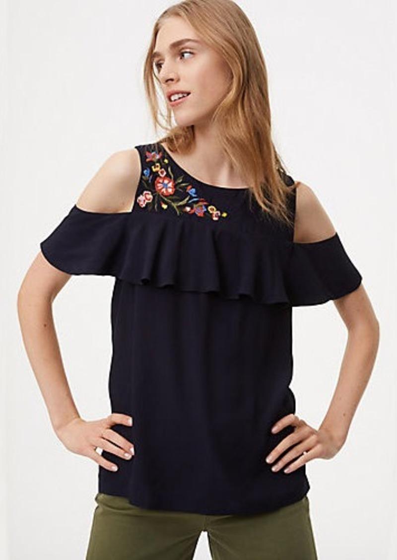 70ccc78bf3759a LOFT Floral Embroidered Cold Shoulder Top