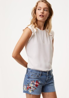Floral Embroidered Cut Off Shorts