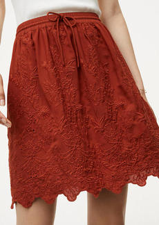 Floral Embroidered Drawstring Skirt