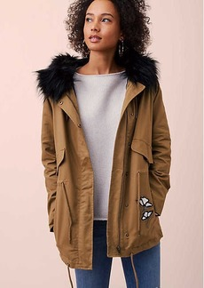 Floral Embroidered Faux Fur Parka