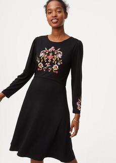 LOFT Floral Embroidered Flare Dress