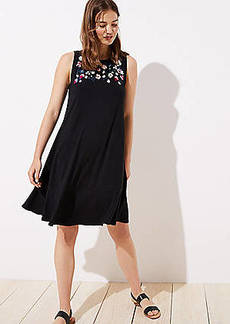 LOFT Floral Embroidered Flounce Swing Dress