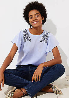 LOFT Floral Embroidered Flutter Top