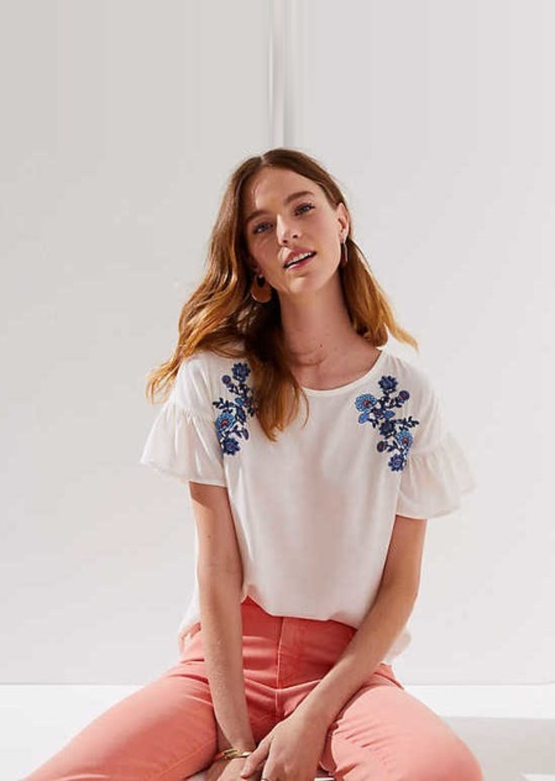 LOFT Floral Embroidered Ruffle Cuff Top