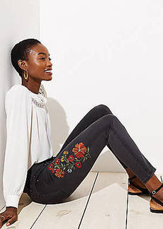 LOFT Floral Embroidered Skinny Jeans in Black