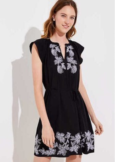 LOFT Floral Embroidered Split Neck Dress