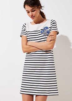 LOFT Floral Embroidered Stripe Tee Dress
