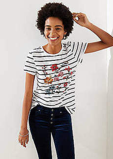 LOFT Floral Embroidered Striped Tee
